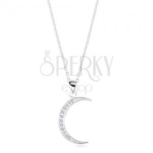 Srebrny 925 naszyjnik, lśniący łańcuszek, wąski sierp księżyca wyłożony cyrkoniami