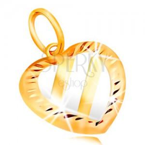 Złota zawieszka 14K - serce z trzema ukośnymi pasami z białego złota, nacięcia
