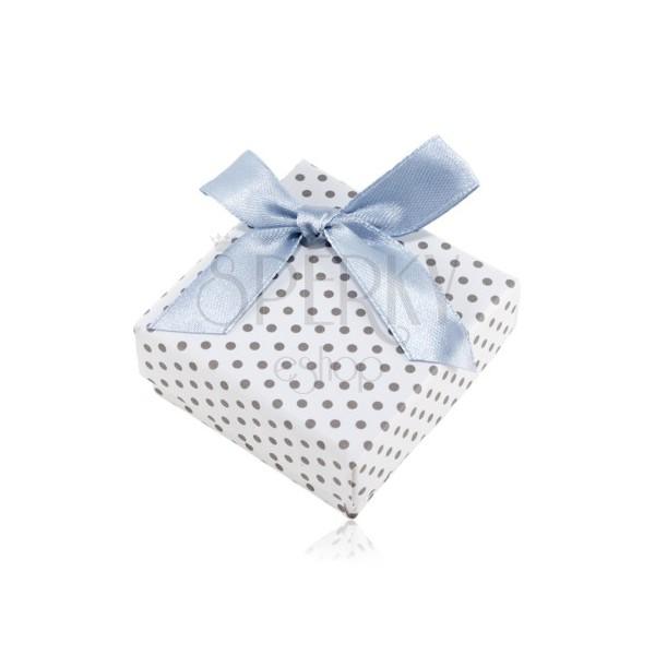 Pudełeczko na kolczyki lub dwa pierścionki, biała powierzchnia, szare kropki i błyszcząca kokardka