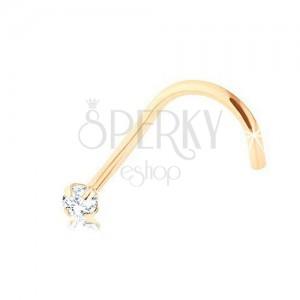 Brylantowy zagięty piercing do nosa, żółte 9K złoto, bezbarwny diament, 1,4 mm
