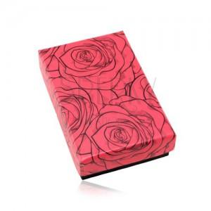 Upominkowe pudełeczko na zestaw lub naszyjnik, czerwono-czarna kombinacja, róże