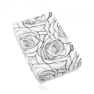 Czarno-białe pudełeczko na zestaw lub naszyjnik, nadruk rozkwitnących róż