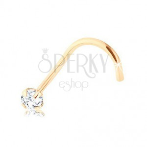 Diamentowy złoty 9K piercing do nosa, żółte złoto, bezbarwny brylant, 2 mm
