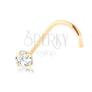 Brylantowy piercing do nosa z żółtego 9K złota, bezbarwny diament, 2,5 mm