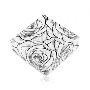 Pudełeczko na kolczyki lub dwa pierścionki, czarny wzór róży na białym tle