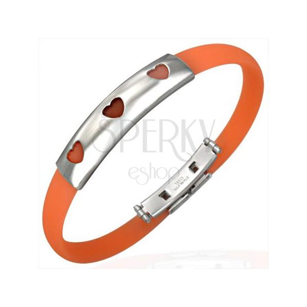 Gumowa bransoletka w pomarańczowym kolorze - stalowa płytka z trzema wycięciami sercami