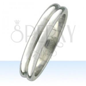 Stalowy pierścionek z dwoma zaokrąglonymi pasami