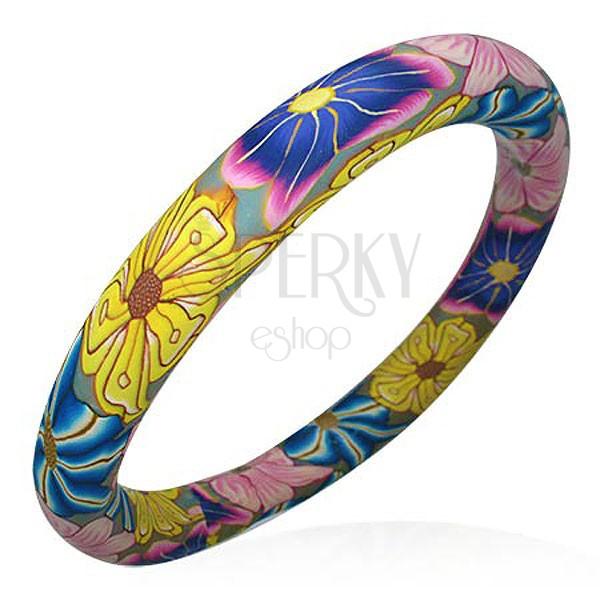 Bransoletka Fimo kolory kwiatów Hippies