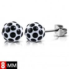 Kolczyki ze stali chirurgicznej, białe kuleczki z czarnymi kropkami