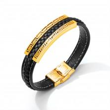 Czarna bransoletka z syntetycznej skóry, stalowa płytka złotego koloru - grecki klucz