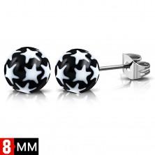 Kolczyki ze stali 316L, czarno-białe kuleczki z gwiazdkami