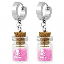 Kolczyki ze stali chirurgicznej, kolor srebrny, butelka z różowymi kuleczkami