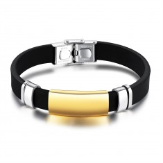 Czarna gumowa bransoletka, lśniąca gładka płytka ze stali złotego koloru