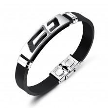 Stalowo-gumowa bransoletka, czarny pasek, płytka z krzyżem srebrnego koloru