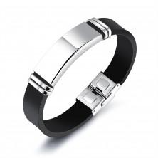 Bransoletka z czarnym gumowym paskiem i lśniącą płytką srebrnego koloru