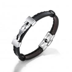 Czarna bransoletka ze sztucznej skóry, stalowa płytka w kolorze srebrnym - skorpion