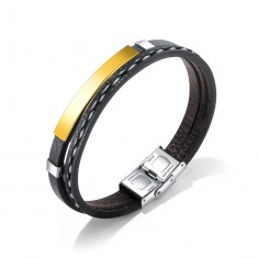 Skórzana bransoletka z czarnym paskiem i błyszczącą płytą złotego koloru