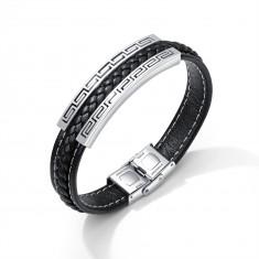 Czarna bransoletka z syntetycznej skóry, stalowa płytka srebrnego koloru - grecki klucz