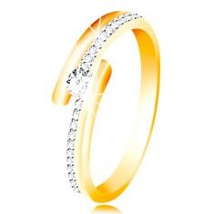 Złoty pierścionek 585 - rozdwojone ramiona, uniesiona okrągła cyrkonia bezbarwnego koloru