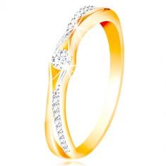 Złoty 14K pierścionek, rozdzielone ramiona z żółtego i białego złota, bezbarwne cyrkonie