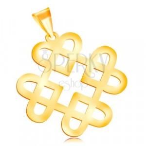 Zawieszka z żółtego 14K złota - lśniący ornament z czterech konturów serc