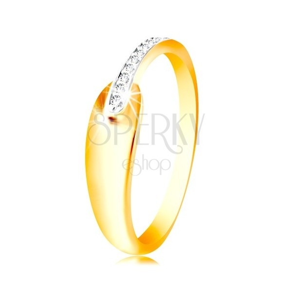 Pierścionek ze złota 585 - błyszcząca okrągła łza i lśniący pas z przezroczystych cyrkonii