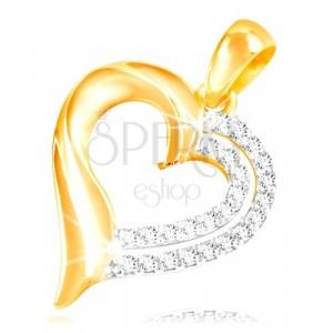 Zawieszka z 14K złota - podwójny kontur serca ozdobiony przezroczystymi cyrkoniami