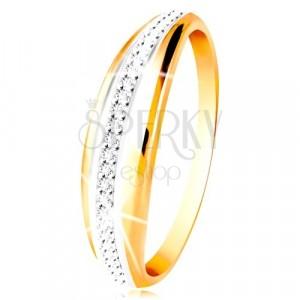 Złoty 14K pierscionek - wypukły pas z linią białego złota i bezbarwnych cyrkonii