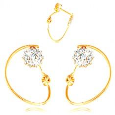 Złote kolczyki 585 - cienkie koło, kwiatek z białego złota i cyrkonii, sztyfty