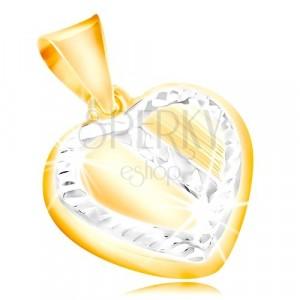 Złota zawieszka 14K - serce z oblamowaniem i ukośnym pasem z białego złota, nacięcia