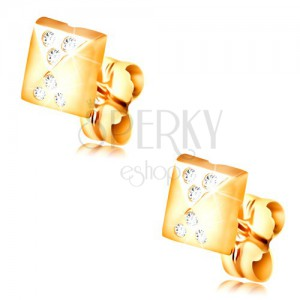Kolczyki z żółtego 14K złota, błyszcząca mała piramida, małe przezroczyste cyrkonie