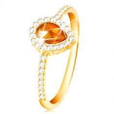 Pierścionek z żółtego 14K złota, kropla pomarańczowego koloru z bezbarwną cyrkoniową oprawą