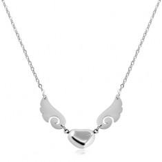 Naszyjnik srebrnego koloru, stal 316L, błyszczące serce ze skrzydłem anioła