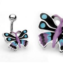 Piercing do pępka kolorowy motyl
