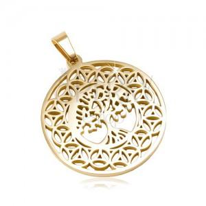 Okrągła zawieszka ze stali 316L złotego koloru, drzewo życia, ornamenty