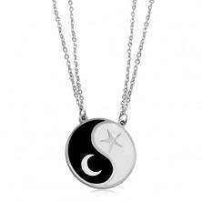 Stalowy naszyjnik, dwa łańcuszki, czarno-biały symbol Jin i Jang, księżyc i gwiazda