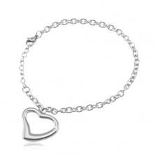 Stalowa bransoletka srebrnego koloru, owalne oczka, kontur serca