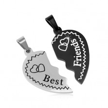 Stalowe zawieszki Best Friends - rozdzielone serca z serduszkami, dwukolorowe