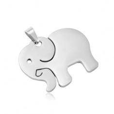 Zawieszka ze stali chirurgicznej w srebrnym odcieniu, matowy słoń z wycięciami