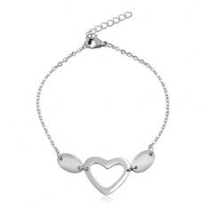 Stalowa bransoletka w srebrnym kolorze, owalne oczka, dwa owale i kontur serca