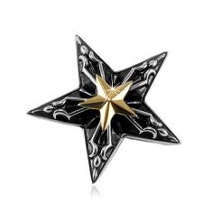 Stalowa zawieszka, duża czarna gwiazda z małą gwiazdą złotego koloru pośrodku
