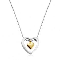 Naszyjnik ze stali chirurgicznej, serce o złotym kolorze w zarysie serca