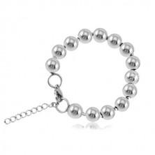 Stalowa bransoletka w kolorze srebrnym, błyszczące kulki połączone pałeczkami