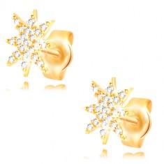 Kolczyki z żółtego 14K złota - błyszcząca gwiazda ozdobiona bezbarwnymi cyrkoniami