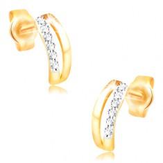 Kolczyki z 14K złota - dwa wąskie łuki, pas małych cyrkonii
