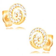 Kolczyki z żółtego 14K złota - okrąg ozdobiony spiralą i przezroczystymi cyrkoniami