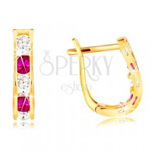 Kolczyki z żółtego 14K złota - łuki z cyrkonii bezbarwnego i różowego koloru