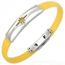 Gumowa bransoletka, motyw gwiazdy - żółty