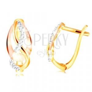 Złote 14K kolczyki - trzykolorowe splecione linie, błyszczące cyrkonie bezbarwnego koloru