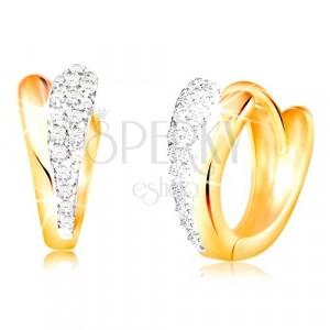 Złote okrągłe kolczyki 585 - błyszczące łzy z żółtego i białego złota, cyrkonie
